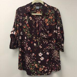 Soho Jeans New York & Company Burgundy Floral Top